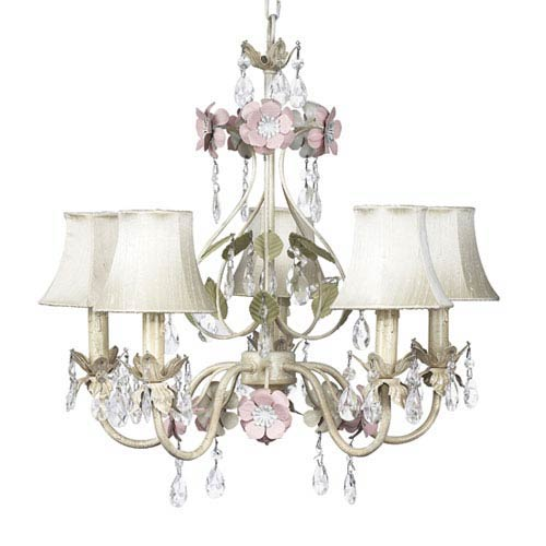 Flower Garden Ivory Sage and Pink Five-Light Chandelier with Ivory Shades