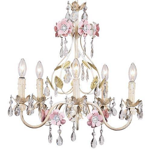 Flower Garden Ivory/Sage/Pink Five-Light Mini Chandelier