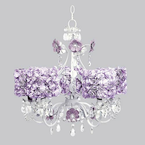 Jubilee Collection Flower Garden Five-Light Chandelier with Lavender Rose Garden Drum Shades
