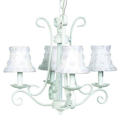 Harp White Four-Light Mini Chandelier with Petal Flower White Chandelier Shades