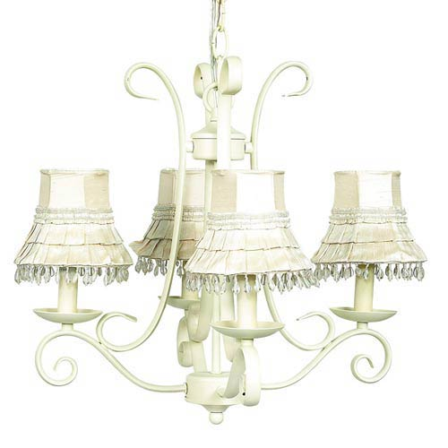 Harp Ivory Four-Light Mini Chandelier with Skirt Dangle Ivory Chandelier Shades