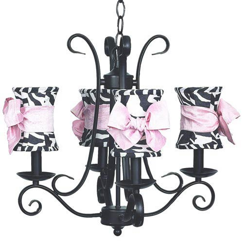 Harp Black Four-Light Mini Chandelier with Hourglass Zebra with Sash Chandelier Shades