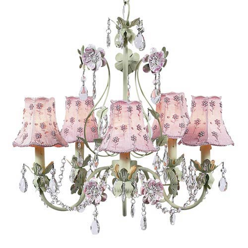 Jubilee collection flower garden pink and green five light mini jubilee collection flower garden pink and green five light mini chandelier with daisy pearl pink aloadofball Gallery