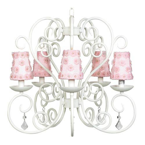 Jubilee Collection Carriage White Five Light Chandelier With Petal Flower Pink Shades