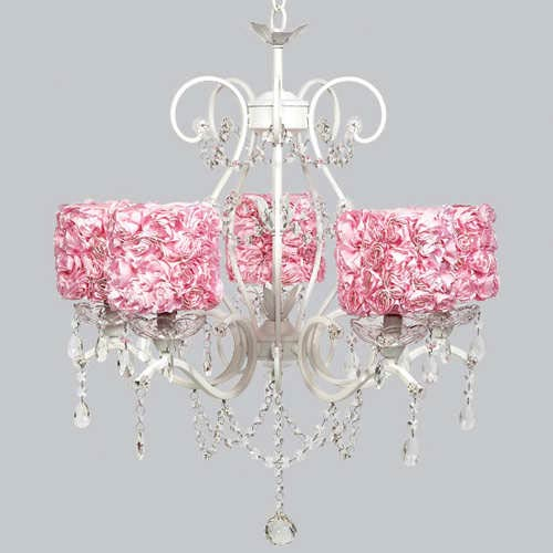 Jubilee Collection Grace White 27-Inch Five Light Chandelier with Pink Rose Shades