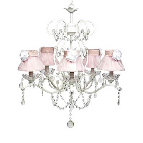 Grace White Five Light Pink Ruffled Sheer Skirt Chandelier