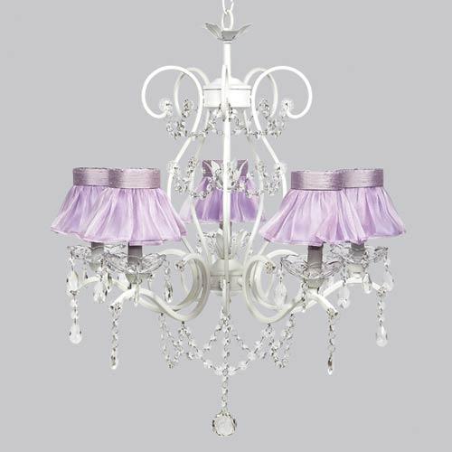 Jubilee Collection Grace White Five Light Lavender Ruffled Sheer Skirt Chandelier