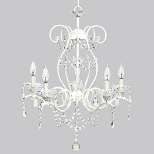 Jubilee Collection Grace White 27-Inch Five Light Chandelier