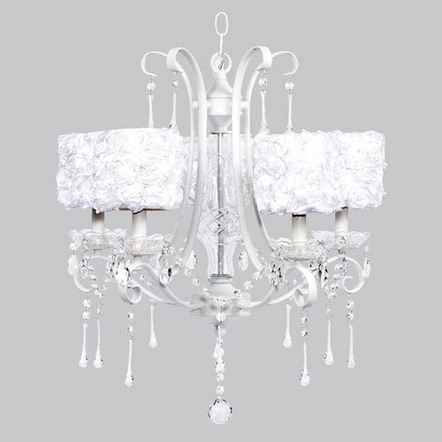 Jubilee Collection Colleen White Five-Light Chandelier with White Rose Garden Drum Shades