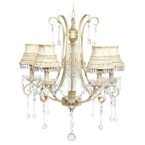 Colleen Ivory Five-Light Chandelier with Ivory Skirt Dangle Shades
