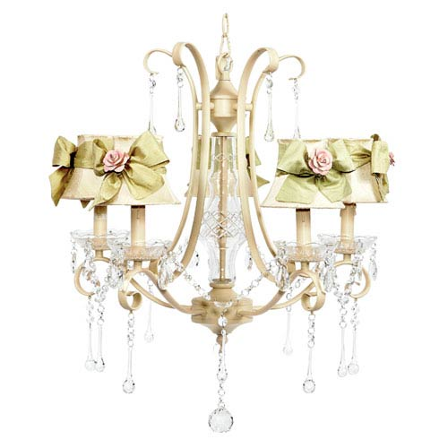 Colleen Ivory Five-Light Chandelier with Ivory Shades, Sage Green Sash and Pink Rose Magnet