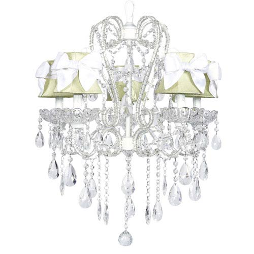 Jubilee Collection Carousel White Five-Light Chandelier with Green Shades and White Sashes