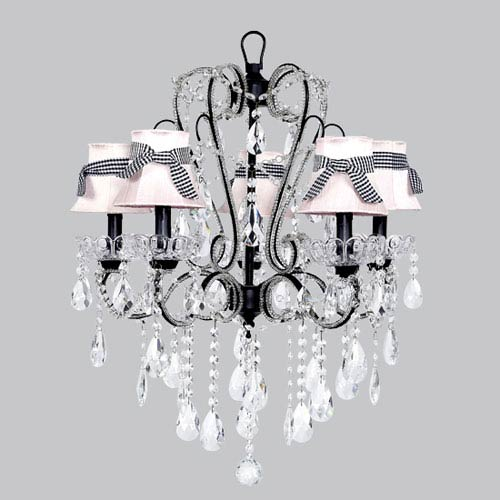 Carousel Black Five-Light Chandelier with Pink Shades and Black Check Sashes