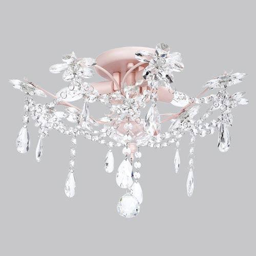 Crystal Flower Pink Three-Light Semi Flush Mount