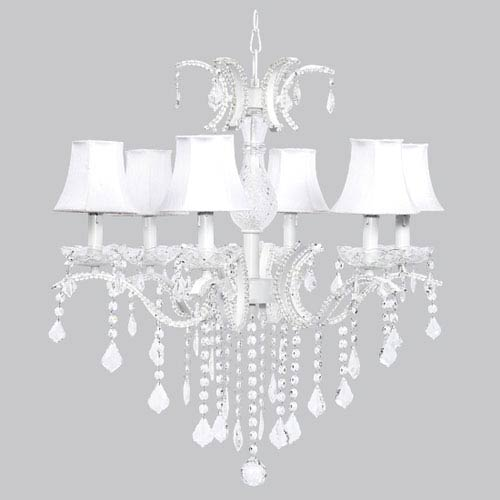 Jubilee Collection Glitz Six-Light Chandelier with White Shades