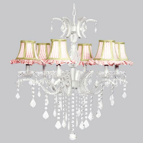 Jubilee Collection Glitz Six-Light Chandelier with Pink and White Striped Ruffled Shades and Sage Green Trim