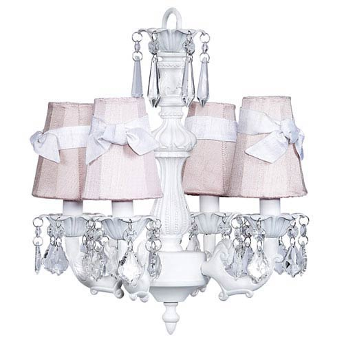 Fountain White Four-Light Mini Chandelier with Pink Shades and White Sashes