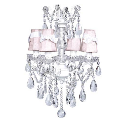 White Four-Light Glass Center Crystal Mini Chandelier with Pink Shades and White Sashes