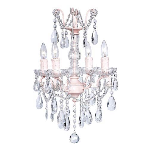 Pink Four-Light Glass Center Crystal Mini Chandelier