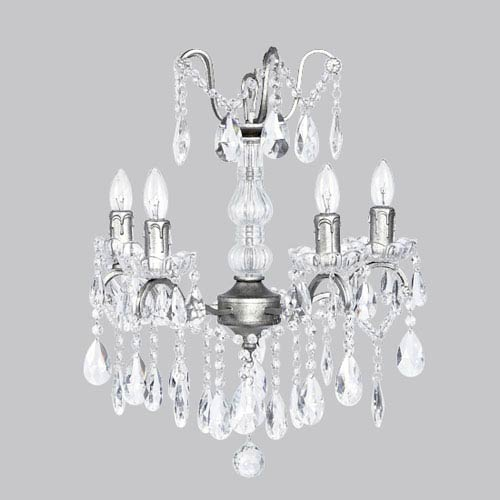Jubilee Collection Pewter Four-Light Glass Center Crystal Mini Chandelier