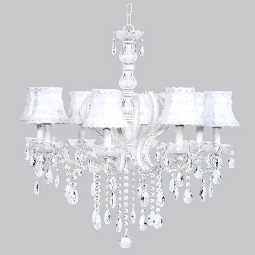 Jubilee Collection Pageant Eight-Light Chandelier with White Petal Flower Shades