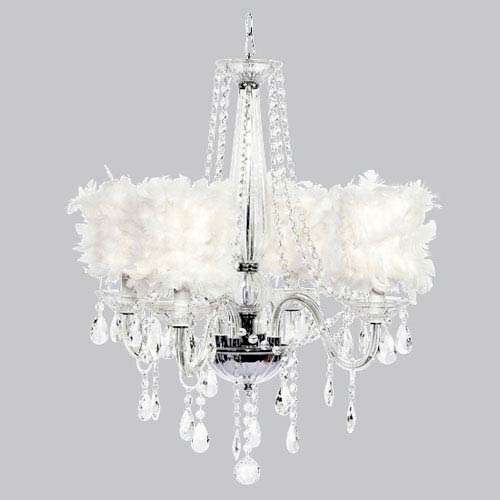 Jubilee Collection Middleton Four-Light Chandelier with White Feather Drum Shades