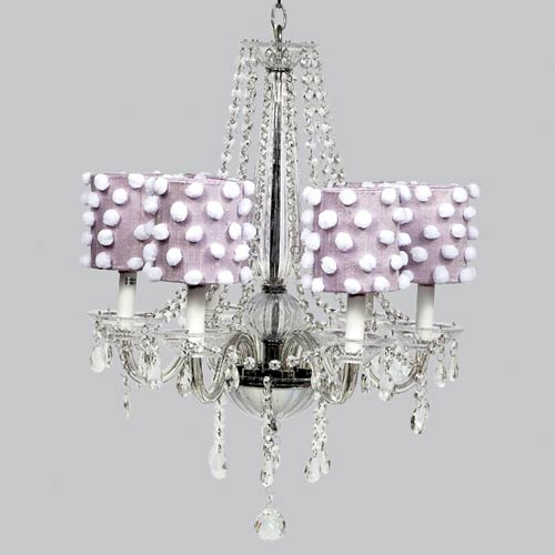 Middleton White Six Light Chandelier with Lavender Drum Shades