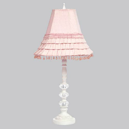 Jubilee Collection White Medium Glass Ball Lamp with Pink Skirted Shade