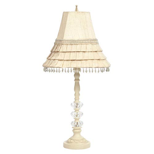 Ivory Medium Glass Ball Lamp with Ivory Skirted Shade