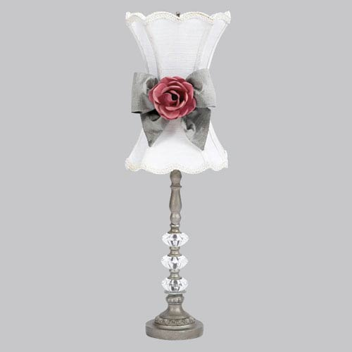 Pewter Medium Glass Ball Lamp with White Shade, Pewter Sash and Dark Pink Rose Magnet