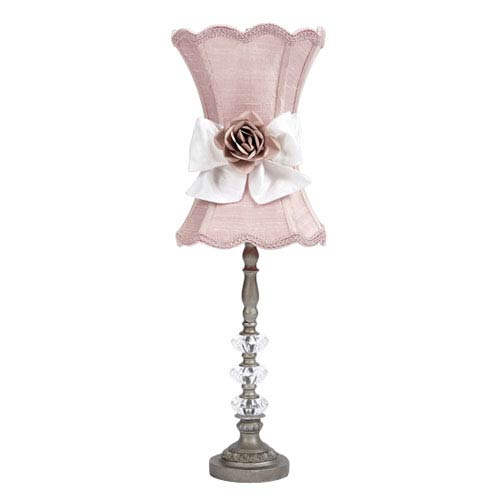 Jubilee Collection Pewter Medium Glass Ball Lamp with Pink Shade, White Sash and Lt Pink Rose Magnet