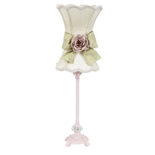 Pink One-Light Table Lamp with Ivory Scalloped Hour Glass Shade and Pink Rose Detail