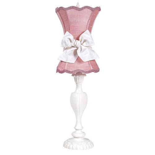 Curvy Candle White Large Table Lamp with Medium Scallop Hourglass Pink Shade
