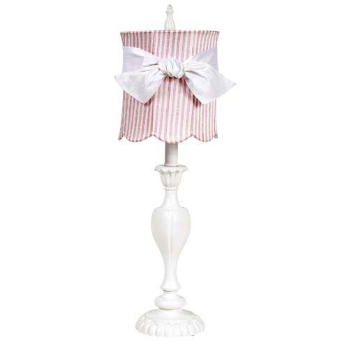 Curvy Candle White Large Table Lamp with Medium Scallop Drum Pink and White Stripe Shade