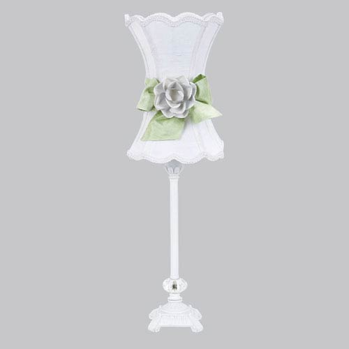 White One-Light Table Lamp with White Scalloped Hourglass Shade and Green Bow with White Rose