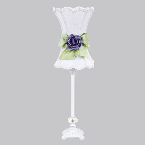 White One-Light Table Lamp with White Scalloped Hourglass Shade and Green Bow with Lavender Rose