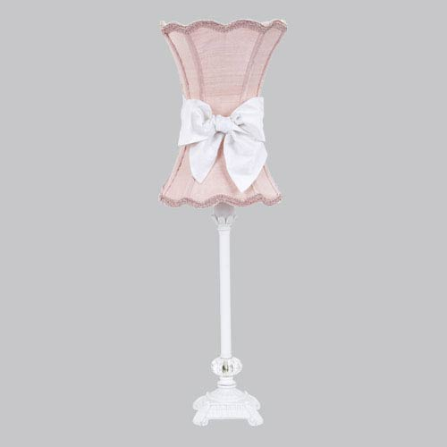 White One-Light Table Lamp with Pink Scalloped Hourglass Shade and White Bow