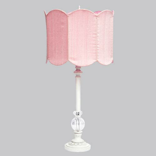Jubilee Collection White Large Glass Ball Lamp with Pink Double Scalloped Drum Shade