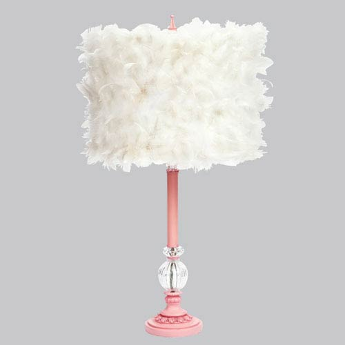 Pink Large Glass Ball Lamp with White Feather Drum Shade
