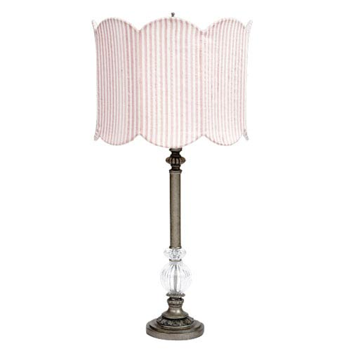 Jubilee Collection Pewter Large Glass Ball Lamp with Double Scalloped Pink and White Drum Shade