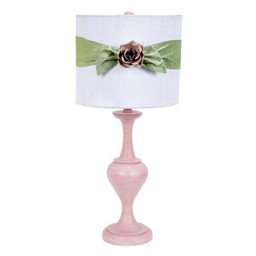 Pink One-Light Table Lamp with White Drum Shade and Green Sash with Pink Rose