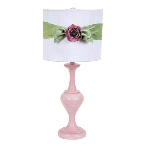 Jubilee Collection Pink One Light Table Lamp With White Drum Shade And Green Sash Bright Rose