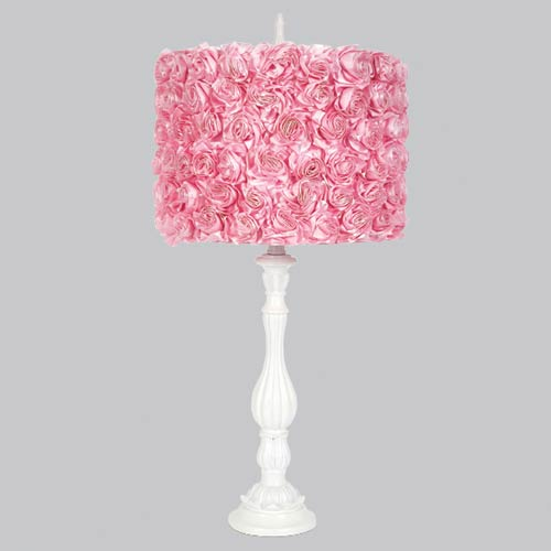 Jubilee Collection Lotus Base White One Light Table Lamp with Pink Rose Garden Shade