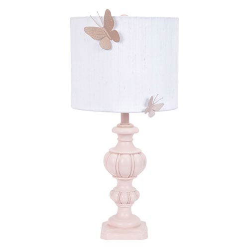 Pink Urn One-Light Table Lamp with White Drum Shade and Pink Butterfly Magnet