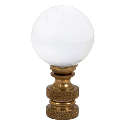 Glass Finial - Round Ball Shape - Clear