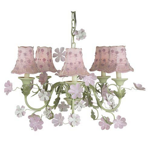 Leaf and Flower Pink and Green Five-Light Mini Chandelier with Daisy Pearl Pink Chandelier Shades