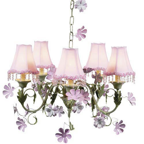 Leaf and Flower Pink and Green Five-Light Mini Chandelier with Pearl Flower Pink Chandelier Shades