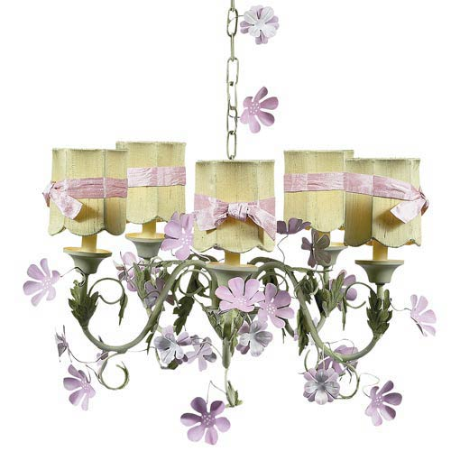 Leaf and Flower Pink and Green Five-Light Mini Chandelier with Scallop Drum Green with Sash Chandelier Shades