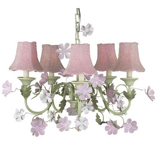 Leaf and Flower Pink and Green Five-Light Mini Chandelier with Glass Bead on Fabric Pink Chandelier Shades