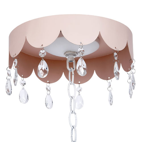 Pink Scalloped Ceiling Medallion with Crystals